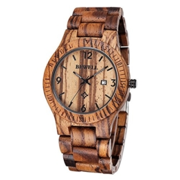 Bewell - Zebrano Holz Herren Uhren