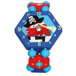 BINO - Holzuhr Pirat, blau