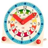 Farbenfrohe Kinder-Holz-Lernuhr für Uhr Mädchen Jungen