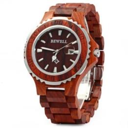 Bewell -Männer Holz Armbanduhr mit Kalender