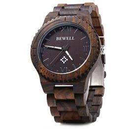Bewell - Holz Armbanduhr Quarzwerk Ebenholzholz