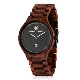 GREENTREEN - Holz Armbanduhr mit Kalender Funktion
