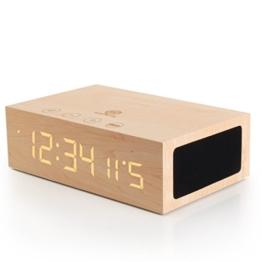 Holz Bluetooth Wecker und Lautsprecher - LED