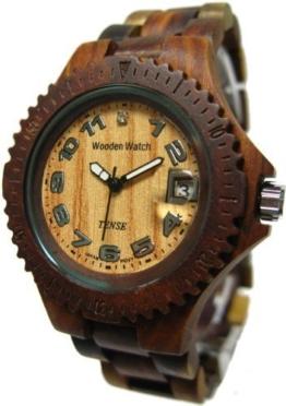 TENSE - Compass Premium Holzuhr, Natürliches Sandelholz