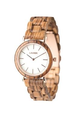LAiMER Damen-Armbanduhr LEONA Mod. 0072 aus Zebranoholz - Analoge Quarzuhr mit strukturiertem weißen Marmor-Zifferblatt, Edelstahlgehäuse und Holzarmband - 1