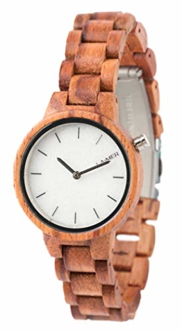 LAiMER Damen-Armbanduhr MARMO ROSE Mod. 0070 aus Rosenholz - Analoge Quarzuhr mit weißem Marmor-Zifferblatt aus Südtirol und Holzarmband - 1