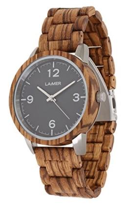 LAiMER Herren-Armbanduhr ELIA Mod. 0087 aus Zebranoholz - Analoge Quarz-Uhr mit strukturiertem Holzarmband - 1