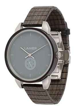 LAiMER Herren-Armbanduhr FELIX Mod. 0096 aus Sandelholz - Analoge Quarz-Uhr mit flexiblem Holzarmband - 1