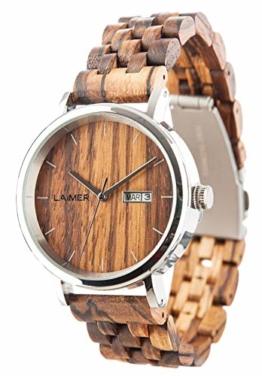 LAiMER Herren-Armbanduhr ROBERTO Mod. 0064 aus Zebranoholz - Analoge Automatikuhr mit Edelstahlgehäuse und Armband aus Holz - 21 Jewels - 1