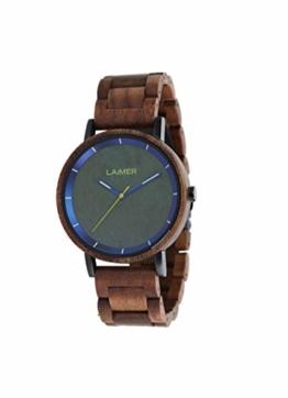 LAiMER Holzuhr Laurenz - Herren Quarz - Armbanduhr aus Walnussholz, Ziffernblatt aus Granit - 1
