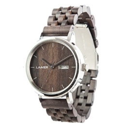 LAiMER Herren-Armbanduhr RAÚL Mod. 0063 aus Sandelholz - Analoge Automatikuhr mit Edelstahlgehäuse und Armband aus Holz - 21 Jewels - 1
