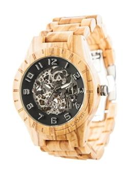 LAiMER Herren-Armbanduhr RICK Mod. 0062 aus Olivenholz - Analoge Automatikuhr mit Skelett-Uhrwerk - 21 Jewels - 1