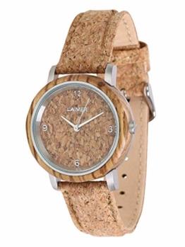 LAiMER Holzuhr Jutta - Damen Quarz - Armbanduhr aus Zebrano mit Kork -Zifferblatt und -Uhrband - 1
