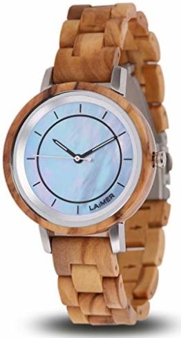 LAiMER Holzuhr Klarissa - Damen Quarz - Armbanduhr aus Olivenholz, Ziffernblatt aus Perlmutt - 1