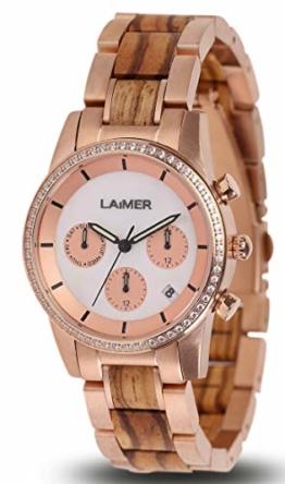 LAiMER Holzuhr Kora - Damen Quarz - Armbanduhr aus Zebranoholz mit Swarovski Kristallen, Chronograph mit Datumsanzeige - 1