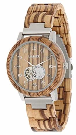 LAiMER Holzuhr RAFAEL -Herren Automatik Armbanduhr aus Zebranoholz mit Sichtfenster in das ausgeklügelte Automatikwerk, 21 Jewels, 40 Stunden Gangreserve - 1