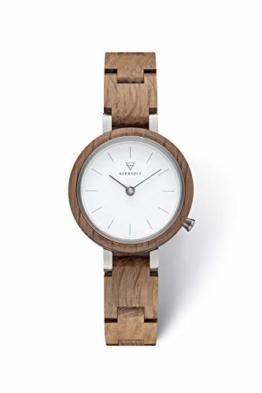 KERBHOLZ Holzuhr – Classics Collection Matilda analoge Quarz Uhr für Damen, Gehäuse und verstellbares Armband aus massivem Naturholz, Ø 27mm, Eiche Weiß - 1