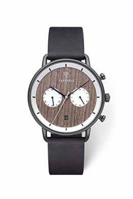 KERBHOLZ Holzuhr – Elements Collection Herbert Herren Multifunktions Uhr analog, Naturholz Ziffernblatt, echtes Lederarmband, Ø 42mm, Greywood Black Midnight Black - 1