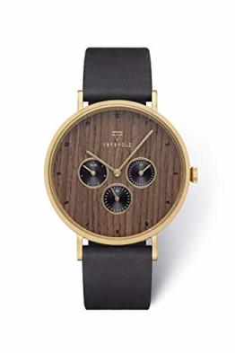 KERBHOLZ Holzuhr Uhr – Elements Collection Caspar analoger Herren Chronograph, Naturholz Ziffernblatt, echtes Lederarmband, Ø 42mm, Walnuss Schwarz Gold - 1