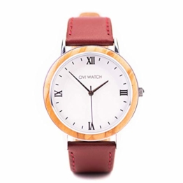 Ovi Watch, Damen Holzuhr, Rot Echtes Lederarmband - 1