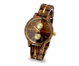 Branvon Divra Holzuhr für Damen - Quarzuhr mit Chronographen und Saphirglas aus exotischem Zebranoholz und echtem Marmor - Holz Armbanduhr Analog - Uhren für Frauen - 1