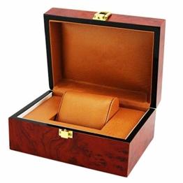 1 Stück Uhrenbox Holz für 1 Uhr Uhrenkoffer Uhrenkasten Armbanduhr Box - Weinrot - 1