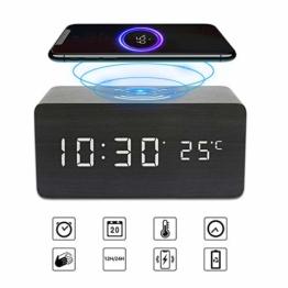 Achort LED Wecker Digital Wecker Holz Tischuhr mit Induktionsladegeräte/Datum/Temperatur Anzeige USB-Ladegerät für Schlafzimmer Kinder - 1