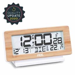 ADE CK1940 Digitaler Funkwecker, Weiß/Bambus Holz, DCF-Zeitsignal, Display-Beleuchtung, Temperatur-Anzeige, 4 x 16.6 x 8.7 cm - 1