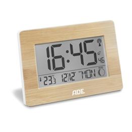 ADE Funkuhr CK 1702. Digitale Uhr mit DCF Zeitsignal, Gehäuse mit echtem Bambus, LCD-Display, Thermometer, Wecker und Kalender. Inklusive Batterie - 1