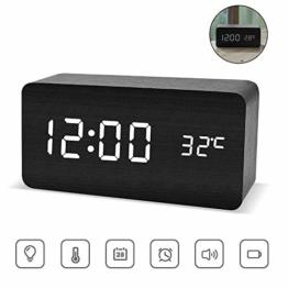 ASANMU LED Digitaler Wecker, Holz Wecker Digitalwecker Wecker Uhr in Holzoptik digital Anzeige von Uhrzeit Temperatur Datum Hölzerne Reisewecker Tischuhr Dekoration Alarm mit USB Kabel (Schwarz) - 1