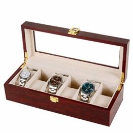 Asvert Uhrenbox für 6 Uhren mit Glasanzeige Oberseite, Elegantes Aussehen,Schmuck-Boxen Aufbewahrungsboxen Display-Boxen, braune Farbe - 1
