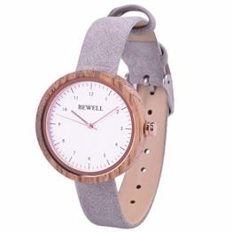 BEWELL Damen Armbanduhr Uhr Aus Holz Analog Japanisches Quarzwerk mit Lederarmband, mit Quadratischer Geschenkbox (Zebra-Holz) - 1