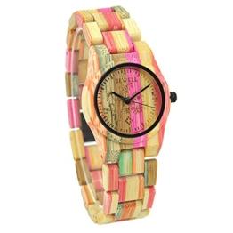 BEWELL Frauen Armbanduhr Analoge Japanische Bewegung mit Bambus Uhrenarmband Leichte 105DL - 1