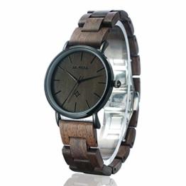 BEWELL Handgemachte Hölzerne Paar Armbanduhr Mode Minimalistisch Schlank Analog Quarzuhr für Männer Frauen W163A - 1