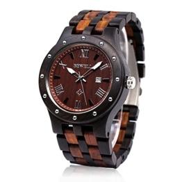 BEWELL Herren Natürliche Holz Uhr Retro Quarz Analog Armbanduhr mit Multi-Funktionen der Kalender Anzeige und Leuchtenden Zeiger Hölzerne Armband(Schwarzes und Rotes Sandelholz) - 1