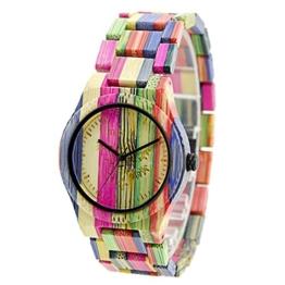 BEWELL Natürliche Hölzerne Uhren Für Damen Herren Casual Uhr Analog Quarzwerk Armbanduhr Bunte Damenuhr mit Mischfarbe Bamboo Armband(Medium mixed color 1) - 1