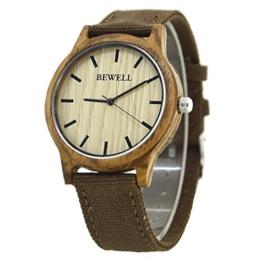 BEWELL W134A Natürliche Holz Lünette Uhren Leinwand Band Japan Bewegung Quarzuhr Licht Gewicht Uhr für Männer Frauen (Zebra Strap) - 1