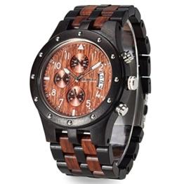 Bewell ZS-109D beleuchtete Armbanduhr für Herren aus Holz mit Mehreren Funktionen Stoppuhr und Datumsanzeige - 1