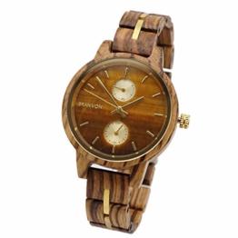 Branvon® Damenholzuhr Divra - Holzuhr Damen - Armbanduhr Analog – Armbandholzuhr mit Chronographen und Saphirglas - Stilvoll aus exotischem Zebranoholz und echtem Marmor – Luxuriöse Damenuhr - 1