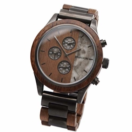 Branvon® Herren Holzuhr Kasis – Herrenuhr Chronograph - Saphirglas - Armbanduhr für Herren aus Edelstahl und Walnussholz – inkl. Glieder und Wekzeuge - 1