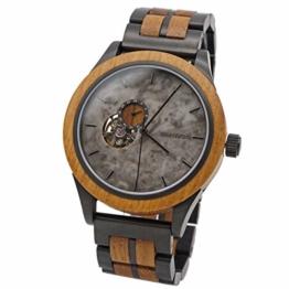 Branvon® Herren Holzuhr Regan – Herrenuhr Automatik - Saphirglas - Armbanduhr für Herren aus Edelstahl und Teakholz– inkl. Glieder und Wekzeuge - 1
