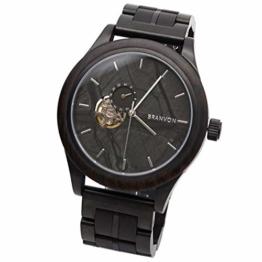 Branvon® Herren Holzuhr Rusil – Herrenuhr Automatik - Saphirglas - Armbanduhr für Herren aus Edelstahl und schwarzem Ebenholz – inkl. Glieder und Wekzeuge - 1