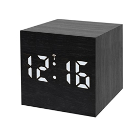 Bresser Funkwecker MyTime WAC mit Holz Optik Kunststoffgehäuse, Uhrzeit-, Datum- und Temperatur-Anzeige, Weckfunktion, Netz- oder Batteriebetrieb, schwarz mit weißer LED - 1
