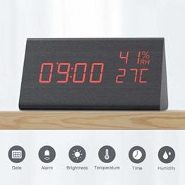 CACAGOO Wecker Digital, wecker Kinder, Digitaluhr Tischuhr Holz USB Wiederaufladbar funkwecker mit Snooze/Temperatur- und Feuchtigkeitserkennung/Sprachsteuerung Funktion, 3 Helligkeit - 1