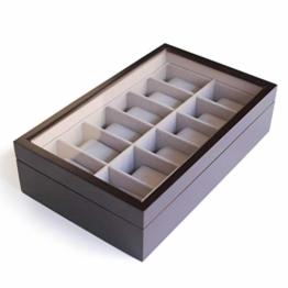 CASE ELEGANCE Uhrenbox aus Massiv Holz - Farbe Espresso - mit Glas-Vitrine für 12 Uhren - 1