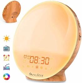 COULAX Lichtwecker Wake Up Licht Wecker Sonnenaufgang Sonnenuntergang Simulation Tageslichtwecker mit Zwei Alarmen 20 Helligkeit 7 natürlichen Klängen UKW-Radio Lichtwecker für Erwachsene und Kinder - 1