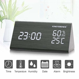 Digital Wecker mit Hölzerner Elektronischer LED-Zeitanzeige, Doppelte Temperatur- und Feuchtigkeitserkennung, Ideal für Schlafzimmer, Nacht Kinder - 1
