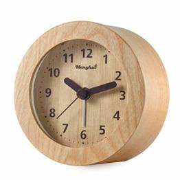 DTKID Analoger Wecker Holz Wecker Nicht Tickt Leise Nachttisch Wecker mit Licht Alarm Massivholz Schick Wecker - 1