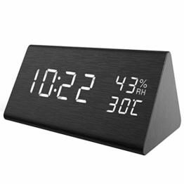 【New】ORIA LED Digitaler Wecker, Dreieck Holz Wecker Uhr Modern Tischuhr, Reisewecker Alarm Clock mit Sound-Kontrolle, 3 Helligkeit, 3 Alarm Einstellung, Datum,Zeit, Temperatur,Feuchtigkeit und USB - 1