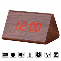 Ertisa Holz Wecker Digital Digital LED Wecker mit Sprachsteuerung, 3 einstellbaren Helligkeits-, Temperatur- und Uhrzeitanzeigen, 3 Weckern, USB/Batterie für das Home Office - 1